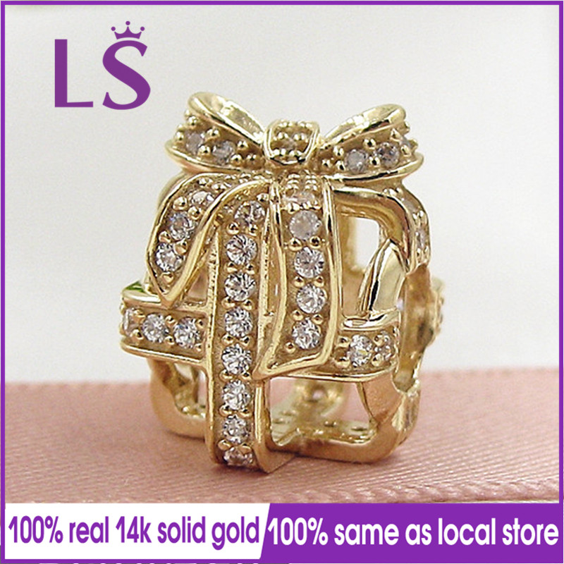 LS New 100% 14&k Real&Solid Gold All Wrapped Up Charm Encantos Fit Original Bracelets Pulseira Berloque 100% Same.Fine Jewelry N all wrapped up a nesting place