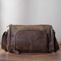 Модная мужская повседневная сумка из натуральной кожи, сумка из воловьей кожи, сумка через плечо на одно плечо, школьная сумка для мужчин B258