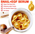 Pure Snail Serum + EGF Essence Facial Care Capsule Cream Repair Ance Scar Whitening Freckle Brighten Skin Long time Moisture