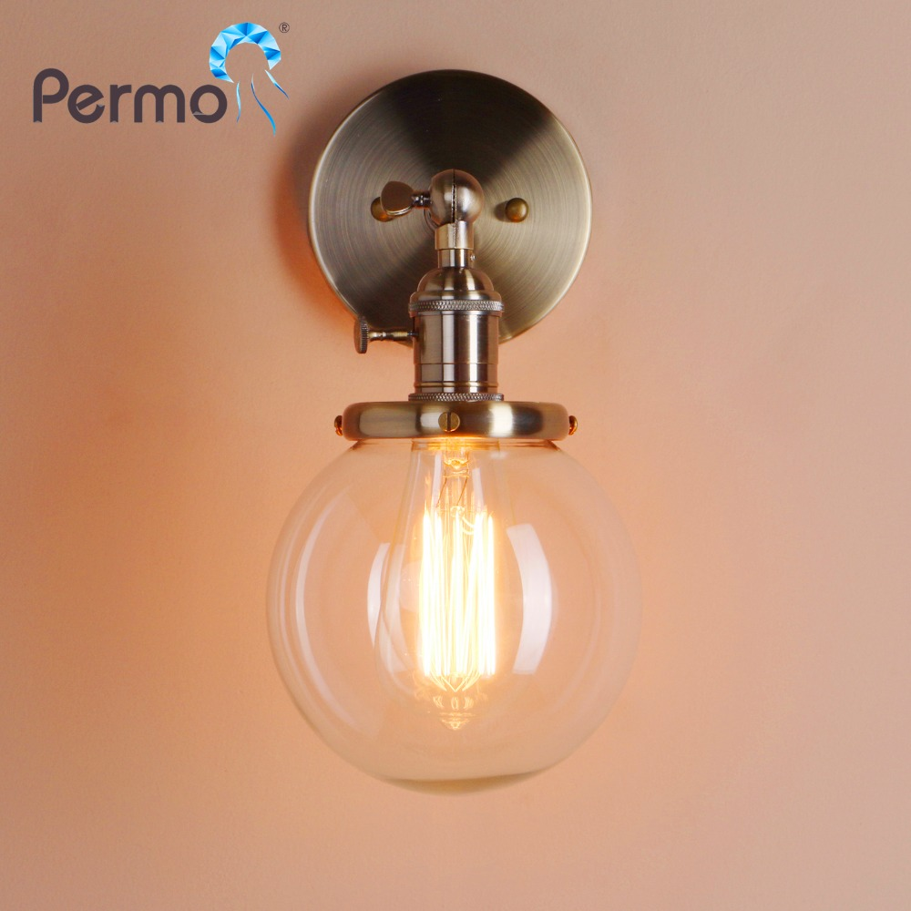 PERMO 5.9'' Modern Glass Metal Canopy Wall Sconce Wall Lights Fixtures Retro Vintage Wall Lamp Loft Home Decor Bar Bedside Light