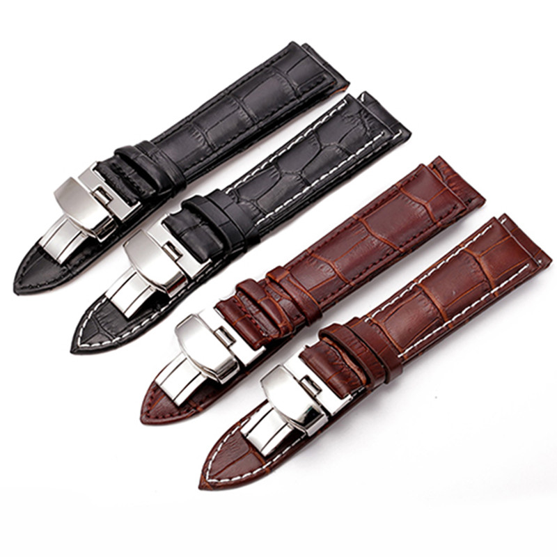 Durable Sweatband Watch Men Leather Strap Band Fashion Business Foldable Clasp Watchband Steel Buckle Wrist Straps 20 mm 22mm durable canvas fabric strap steel buckle wrist watch band 20mm 22mm pin buckle durable replacement watchband nato strap colorful