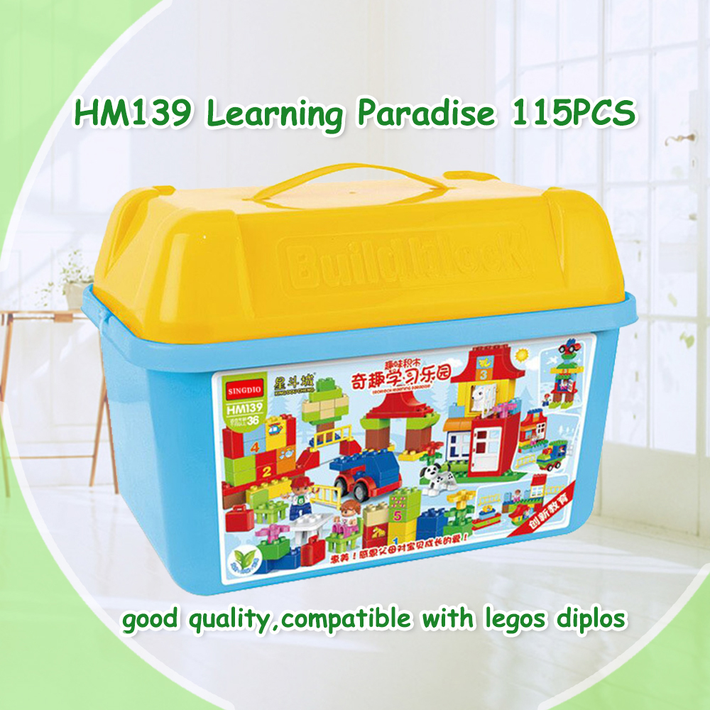 115pcs Quality Big Building Blocks paradise Self-locking Bricks Educational Toys Baby Toys Children Gift Compatible with Dduplo the trouble with paradise
