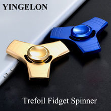 YINGELON Anti Stress Relief Toys Fidget Spinner Metal Trefoil Boy Fun 8 Years Old For Kids Gyroscope Random Color Adult Toy