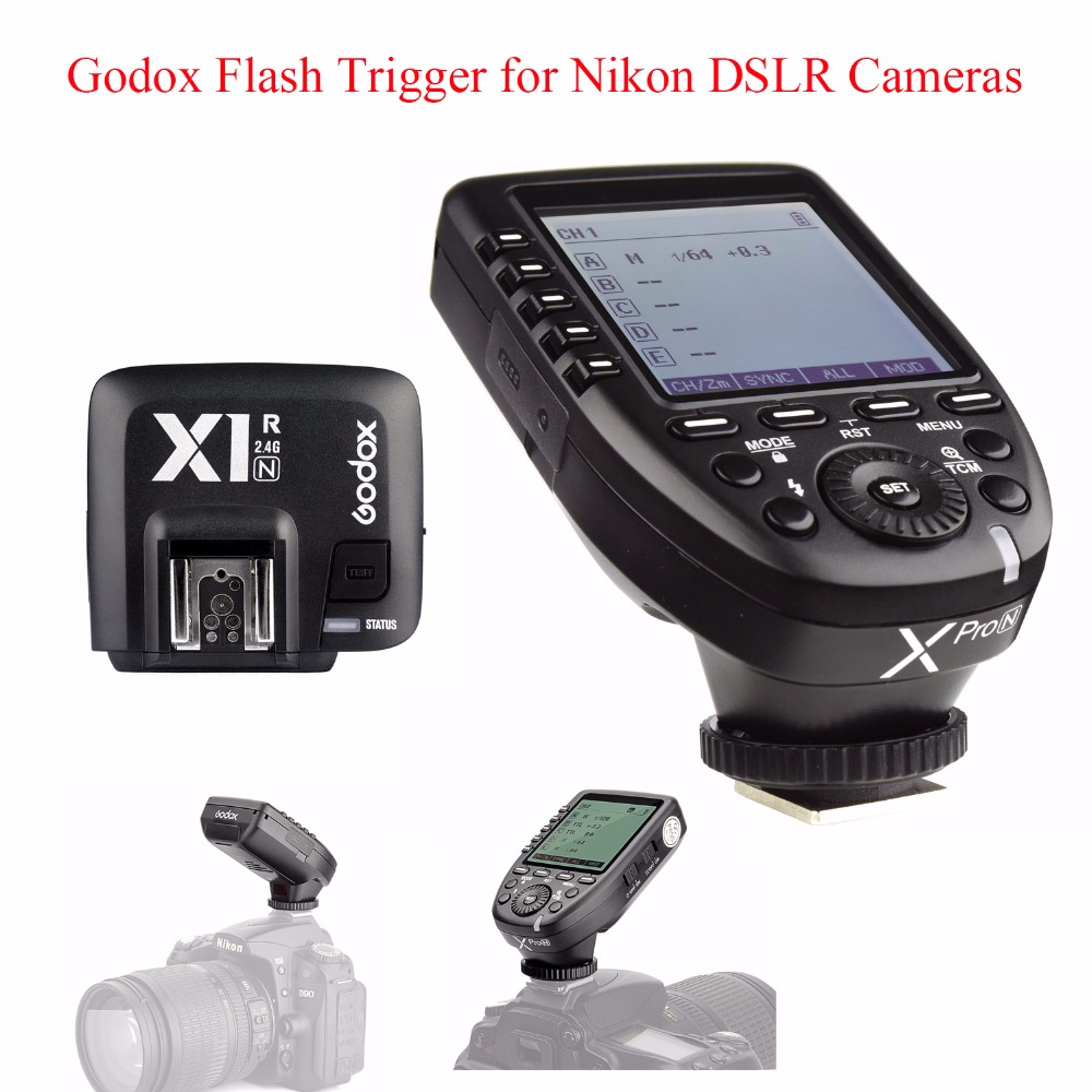 Godox Xpro-N TTL 2.4G Wireless 1/8000s HSS Flash Trigger for Nikon DSLR,Godox Xpro-N Transmitter with X1R-N Receiver for Nikon godox x1t s ttl 2 4g wireless trigger for sony 2x xtr 16s flash receiver for v850 v860 c v850ii v860iic v860n v860ii f v850ii