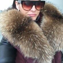 Меховой воротник, женский шарф, зимний шарф из натурального меха енота, для парки, пальто, свитера, шарфы, воротник, шейный платок с 60 см-90 см