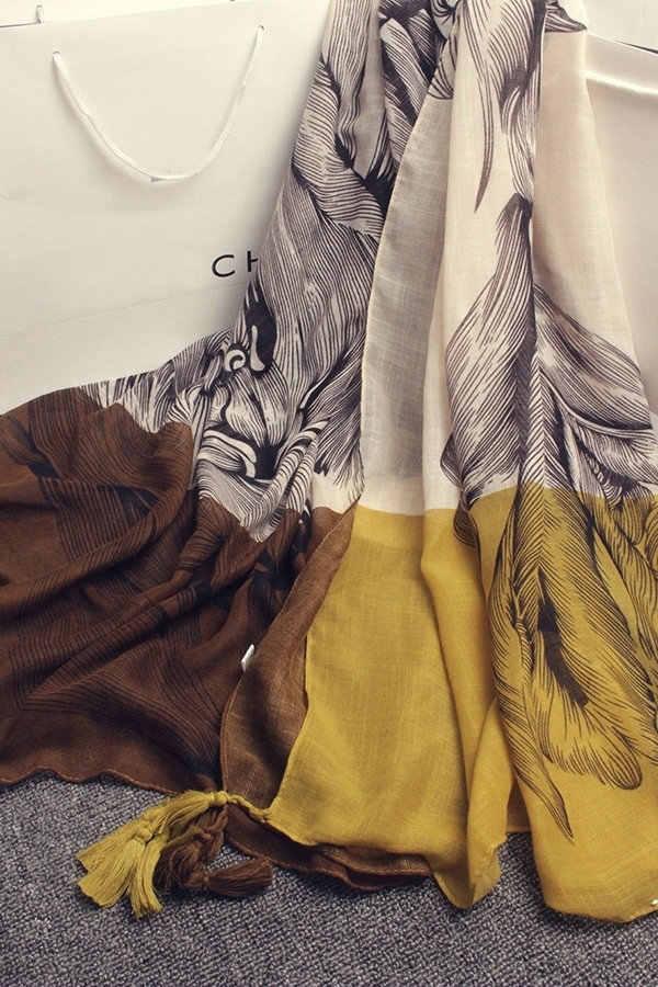 Женский шарф Lockbox, шарф из хлопка и льна с принтом в национальном стиле на осень и зиму, шали и шарфы AW48