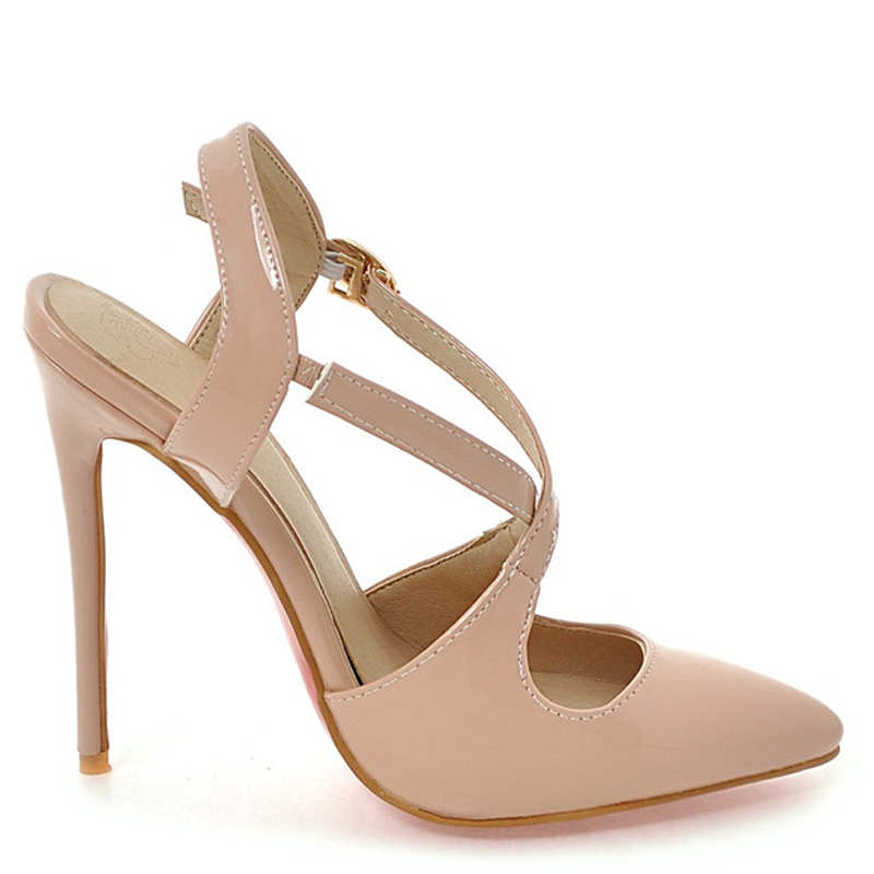 Cocoafoal Women White Wedding Sandals Plus Size 33 - 48 High Heels Sandals Sexy Apricot Black Patent Leather Pointed Toe Pumps(China)