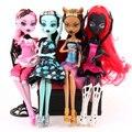 Fashion Dolls 4 unids/set Draculaura/Clawdeen Wolf/Frankie Stein/Negro WYDOWNA Araña Cuerpo Móvil Niñas Juguetes de Regalo
