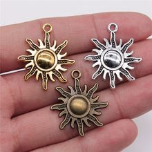 WYSIWYG 6pcs 28x25mm 3 Colors Antique Gold Antique Silver Antique Bronze Sun Charms Sun Pendant Charms For Jewelry Making(China)