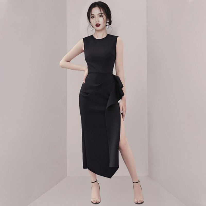 2019 Dress Sexy Celebrity Ruffles Slit O Neck Wommen Fashion Sleeveless Night Club Temperament Body con Party Dresses Wholesale Dresses     - title=