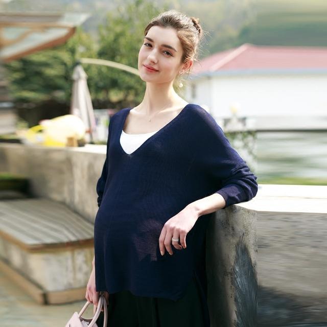 Blusas de maternidade Nova Moda Inverno Roupas de Algodão Com Decote Em V Camisa de Manga Longa Mãe Grávida de Cabeça para Fora Do Decote Em V V-0338
