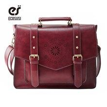 d1a8c81a50bc ECOSUSI New Women PU Leather Handbag High Quality Retro Women Messenger Bags  Famous Designer Leather Briefcase