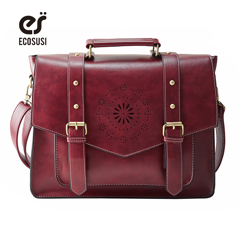 ECOSUSI New Women PU Leather Handbag High Quality Retro Women Messenger Bags Fam