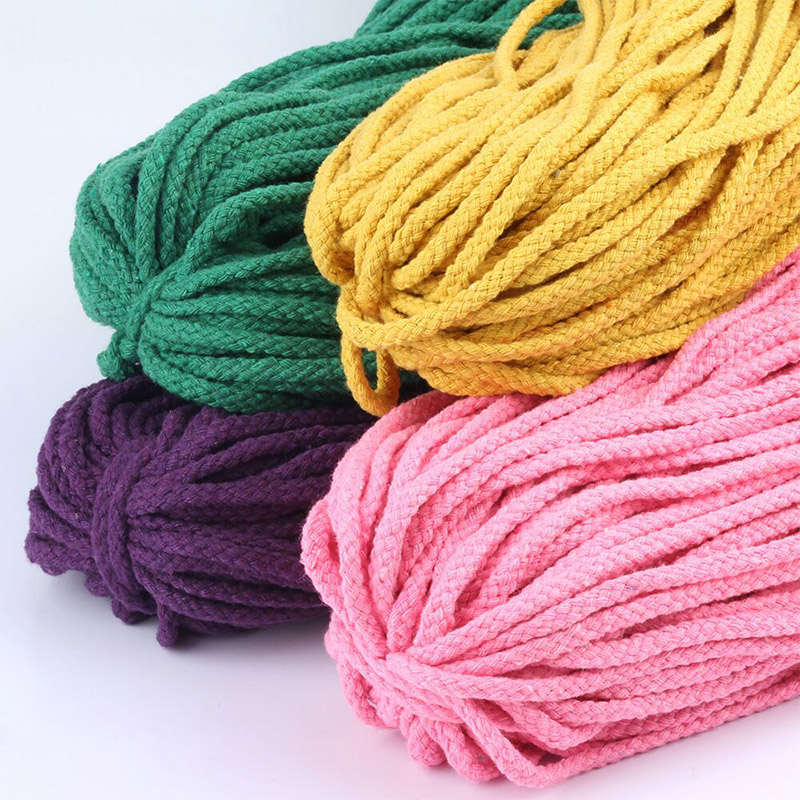 5m/lot Colorful 5mm Cotton Cord Twisted Rope High Tenacity Macrame DIY Textile Craft Woven String Home Decoration Touw