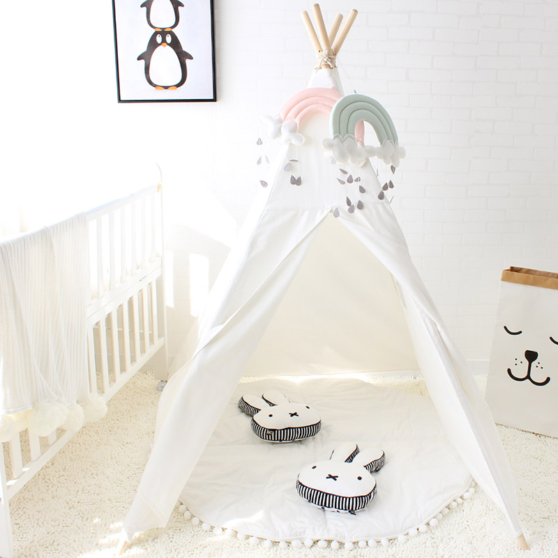 Four Poles Kids Play <font><b>Tent</b></font> Cotton Canvas Teepee Children Toy <font><b>Tent</b></font> White Pink Blue Playhouse for Baby Room Tipi