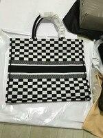 Модные фирменный Топ класс для женщин черный и белый плед леди хозяйственные сумки большой открытым дном повседневное Мужская тотализатор