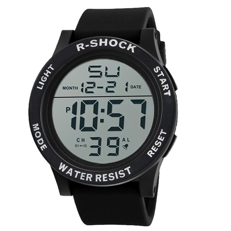 Free shipping Luxury Fashion Waterproof Men s Boy LCD Digital Stopwatch Date Rubber Sport Wrist Watch