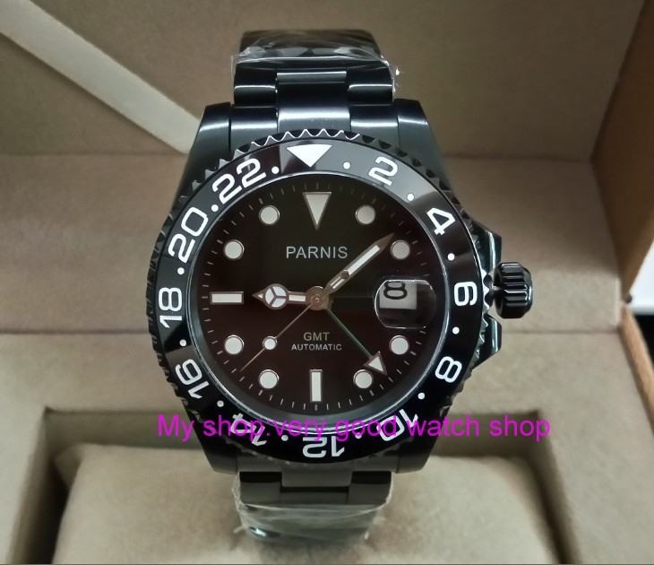 Sapphire crystal 40mm parnis black dial Asian Automatic Self Wind movement Ceramic bezel GMT luminous PVD case men's watch 390A