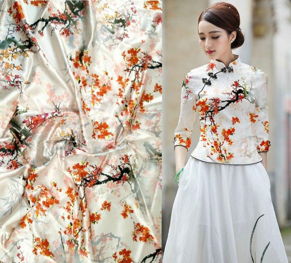 Telas rouge prune fleurs style japonais impression tissu enfant tissus marque Stretch Satin 97% mûrier soie tissu offre spéciale