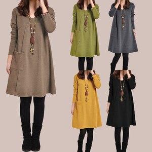 Image 2 - EaseHut Mori Girl Casual Midi Dress Women V neck Long Sleeve 4XL 5XL Large Size Dress 2020 Female Autumn Winter Dress Vestidos