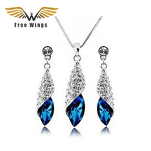 Full Rhinestone Sea Crystal Earrings Necklaces Jewelry Classic Sets Bridal Wedding Jewellery Silver Or Gold For Women