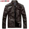 LONMMY Hombres de la chaqueta de cuero Slim fit Faux de LA PU de Gamuza de Terciopelo collar del soporte ocasional de la capa 2016 otoño invierno chaqueta de cuero de moto hombres