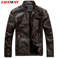 LONMMY Men leather jacket Slim fit Suede Velvet Faux PU Stand Collar Casual coat 2016 Autumn winter Moto leather jacket men