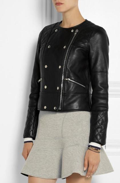 Женская кожаная куртка О-Образным Вырезом Мотоцикл кожаное пальто женщин бренд случайные верхней одежды! S-XL бесплатная доставка