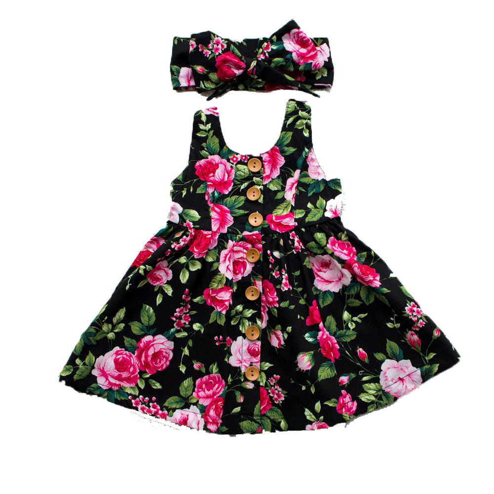 Toddler Infant Kids Baby Girls Summer Floral Dress Princess Party Sleeveless Dresses Headband 2pcs 0-4Y fashion toddler girls princess dress elegant floral bow vestidos for baby girl winter infant kids cotton lace dresses