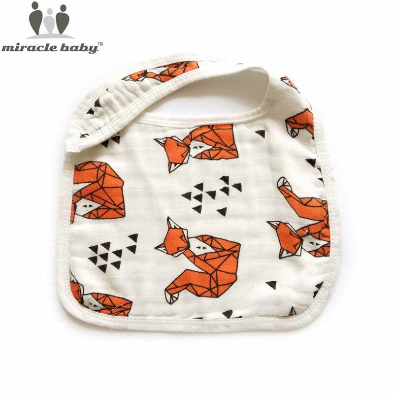 Miracle Baby 3 Layers Gauze 100% Cotton MuslinFeeding Burp Bib Bandana Bibs Snap Burpy Bibs Cloths Scarf Towel for Newborns