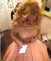 Long Sleeves Peach Evening Dresses 2017 With Gold Beaded Appliques Ball Gowns Dubai Prom Dress For Weddings Party Robe Mariage