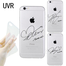 UVR twice signature Phone Case for iPhone 5s 6 7 8 Plus X tpu Transparent soft cover(China)