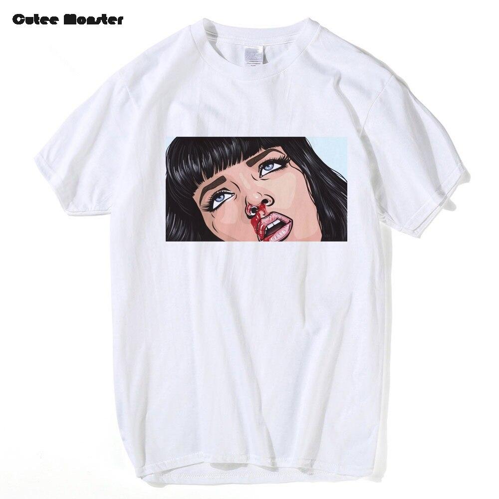 Movie Mia Wallace Pulp Fiction T shirt Men Fashion Summer Quentin Tarantino T-shirt Cotton Hip Hop Girl Printed Top Tees