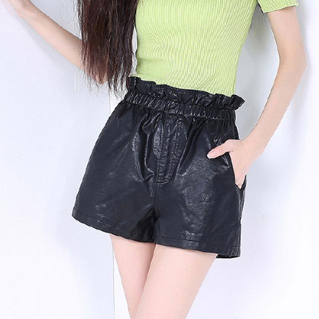 Invierno Otoño Primavera Cortocircuitos Atractivos de Las Mujeres Slim Fit PU de Cuero Femeninos pantalones Cortos Ocasionales Flojos Pantalones de Cintura Elástica Más El Tamaño 3XL