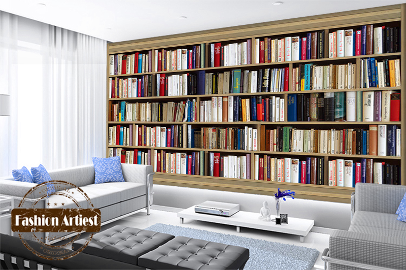 Aliexpress Buy Custom Modern 3d Book Wallpaper Mural Bookshelf Cabinet Bookcase Tv Sofa Bedroom Living Room Cafe Bar Restaurant Background From