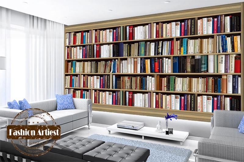 Custom Modern 3d Book Wallpaper Mural Bookshelf Cabinet Bookcase Tv Sofa Bedroom Living Room Cafe Bar Restaurant Background In Wallpapers From Home