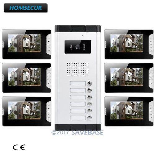 HOMSECUR 7 Hands-free видео дверь домофон комплект + кнопкой блокировки выпуска для 6 квартиры