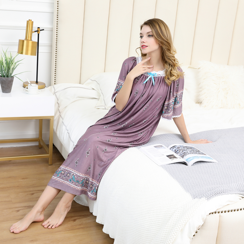 Summer women Sexy Modal cotton Pamjamas Sleepwear Night Dress Lace Long nightgowns skirts sleepwear plus size night dress 100kg 1