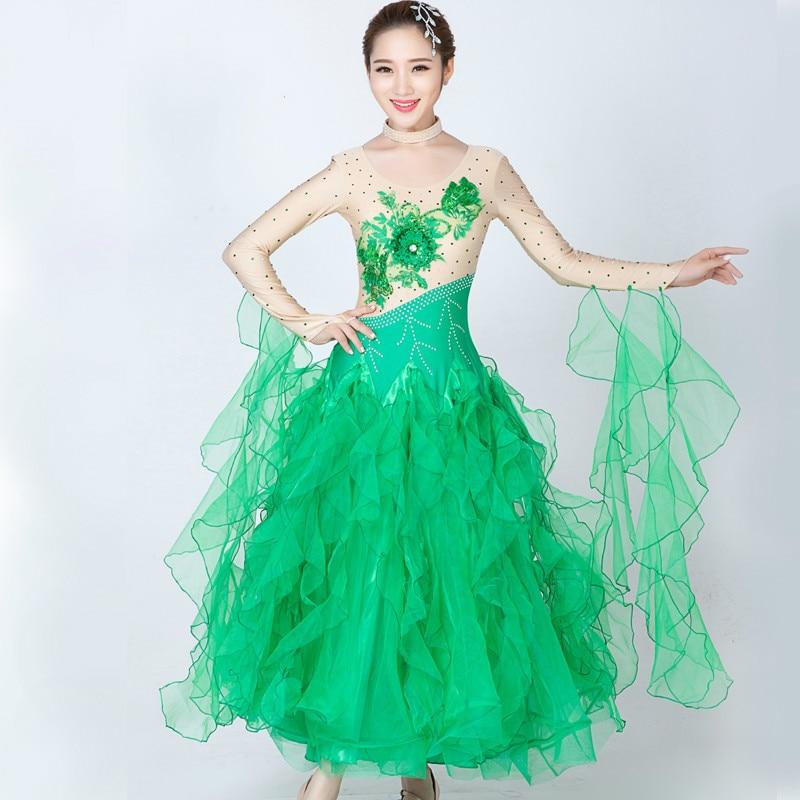 Fashion Long Sleeve Diamond Companionship Ballroom Waltz Dance Costume for Women Modern Performance Dress