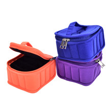 16 Bottles Traveling Sy Double Zipper 5ml 10ml 15ml Essential Oil Carrying Case Nail Polish Makeup Cosmetic Bag Storage