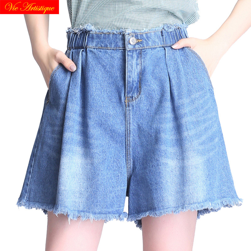 denim jeans washed blue shorts womens short femme 2018 summer high waist plus size booty woman elastic waist casual pockets ...