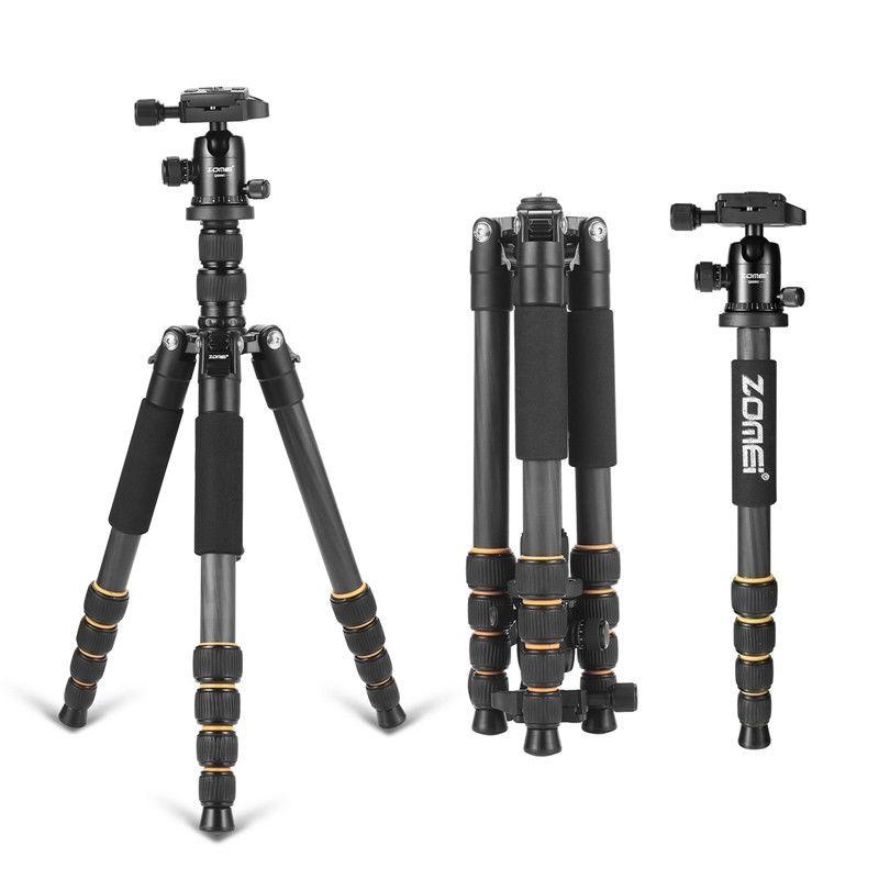 ZOMEI Q666c Fibra di Carbonio Professionale Leggero Compatto Da Viaggio Treppiede Portatile monopiede & BallHead per DSLR SLR Fotocamera Digitale DV
