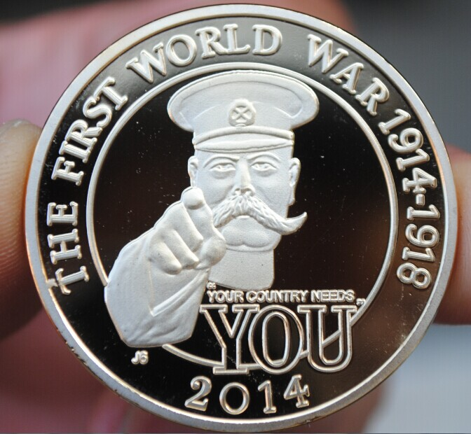 40mm Silver Plated 100 Years Of Ww1 Wwi Souvenir Coin