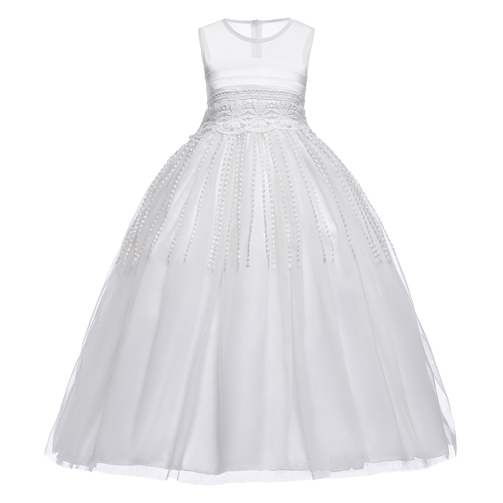 Sleeveless Long Party Formal Gowns Dresses High-end Kids Girls Lace Evening Dress Wedding Banquet Elegant Appliques Sequins Lace подвесной светильник crystal lux deseo sp12 l1000 gold