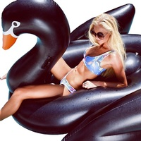 Inflatable Swimming Pool Float Summer Lake Swimming Lounge Pool Giant Rideable Black Inflatable Swan Toys Float Raft,HA048