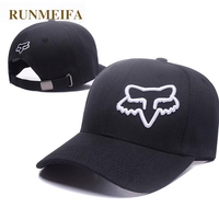 RUNMEIFA New Racing Cap Solid Color Fox Pattern Print Canvas Cap For Adult Outdoor Sports Adjustable