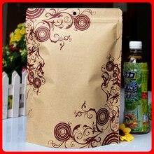 50pcs/lot 22cm*29cm+4cm*140micron High Quality Food Self Adhesive Bags Kraft Paper Printed Package Bags