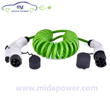 лучшая цена 16A 5m J1772 to IEC 62196-2 EV Plug Connector EV Spring Cable 16Amp EV Coiled Cable 16A iec 62192-2 ev plug Type 2 plug male