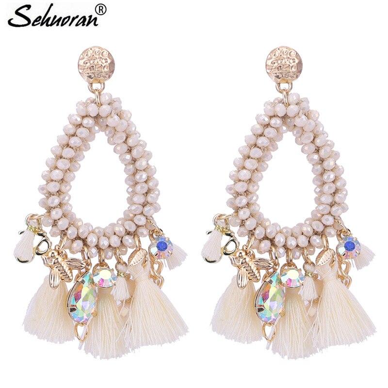 Sehuoran Oorbellen Pendientes Mujer Moda 2018 Висячие серьги для женщин Boho серьги хрустальные бусины ручной работы модные ювелирные изделия