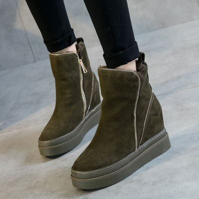 SWYIVY Woman Boots Platform Winter Warm Fur Snow Boots Wedge 2018 Genuine Leather Snowboots Zipper Ankle